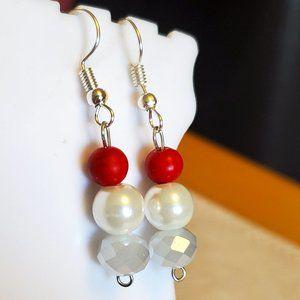 Silver Tone Hook Czech Glass Bead Dangle Earrings